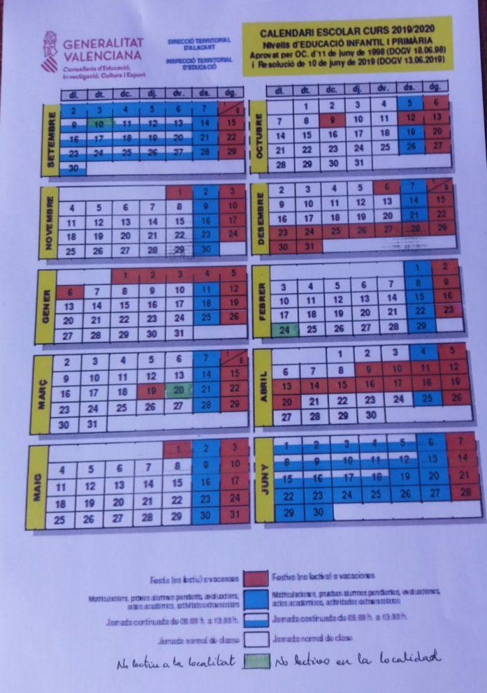 Calendari escolar de Monòver 2019-2020 Serveis