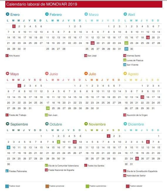 Calendari Laboral Monòver Serveis