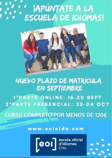 L'Escola Oficial d'Idiomes d'Elda informa de les noves dates de matriculació Educació