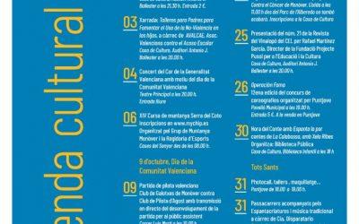 Programació cultural per al mes d'octubre a Monòver Cultura