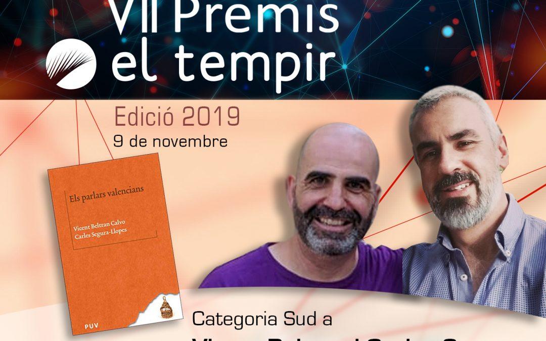Vicent Beltran i Carles Segura, guardonats amb els VII Premis El Tempir en la categoria de Sud Altres notícies - Cultura